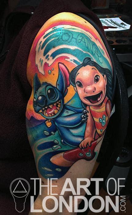 Cartoon Tattoo Artist London | disney lilo and stitch tattoo by london reese tattoonow