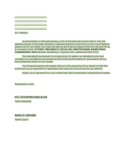 Letter For Basketball League Solicitation Letter For Trophy For Basketball