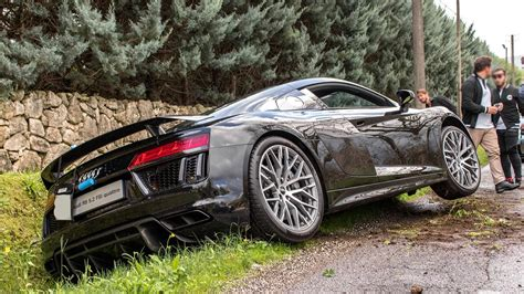 Audi R8 Crash by Audi R8 V10 Plus Crash At Cars And Coffee Italy 2016 Hq