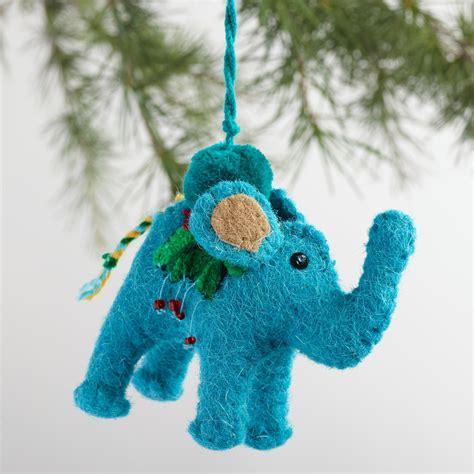 embroidered felt elephant ornaments set of 3 world market