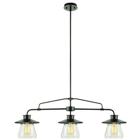 Globe Electric 3 Light Oil Rubbed Bronze And Glass Vintage Rubbed Bronze Kitchen Pendant Lighting