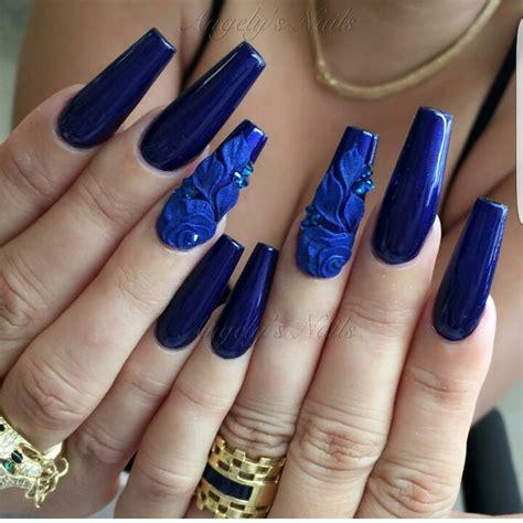 imagenes de uñas negras con azul u 241 as azules decoradas con flores piedras y mas 20