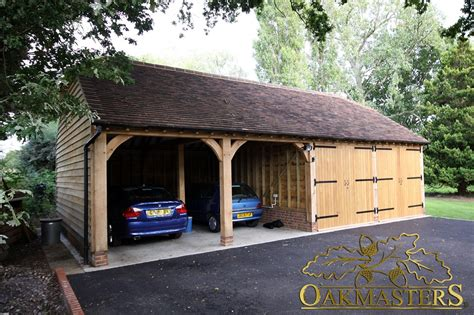 Garage Bay by Two Open And Two Closed Oak Garage Bays 5018 Oakmasters