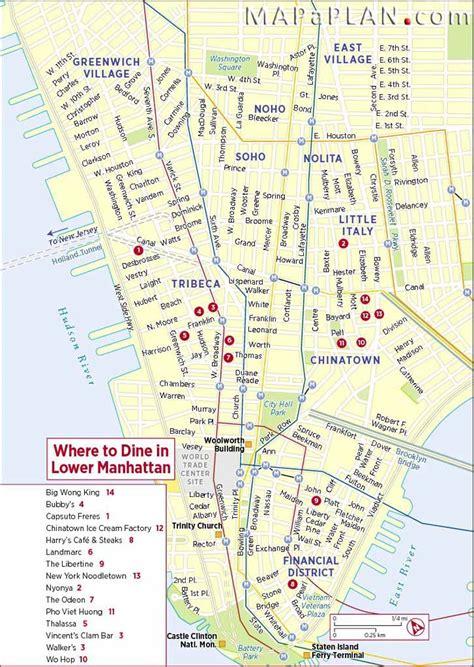 best map of manhattan best restaurants new york map