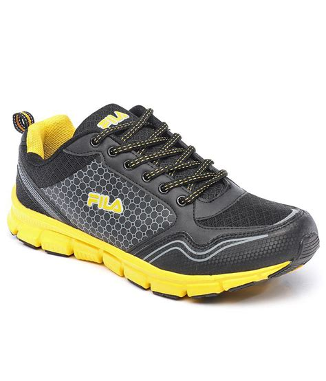 Sport Shoes Black Yellow 56125 buy fila lucca black yellow sport shoes on snapdeal