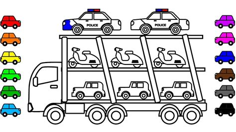 car carrier coloring page learn colors for kids with police car carrier truck