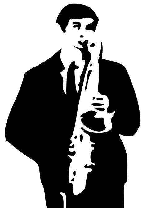 Imagenes Sin Copyright: Saxofonista dibujado en blanco y negro