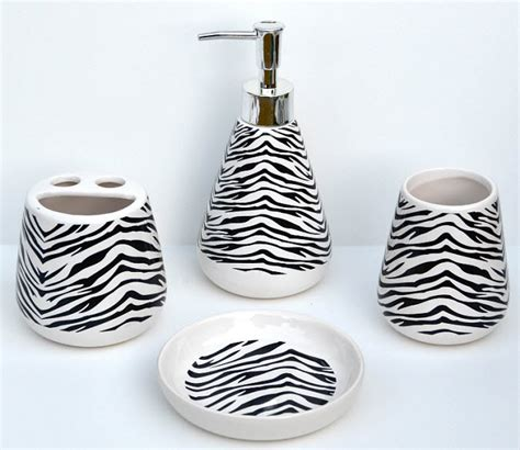 zebra print bathroom accessory set thatsthestuff net