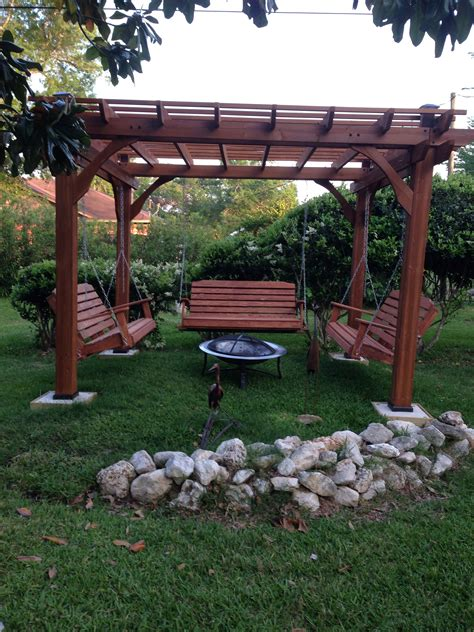 fire pit swing seating great outdoor area with pergola swings and fire pit