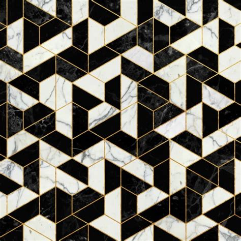 black hexagon pattern black and white marble hexagonal pattern art print by