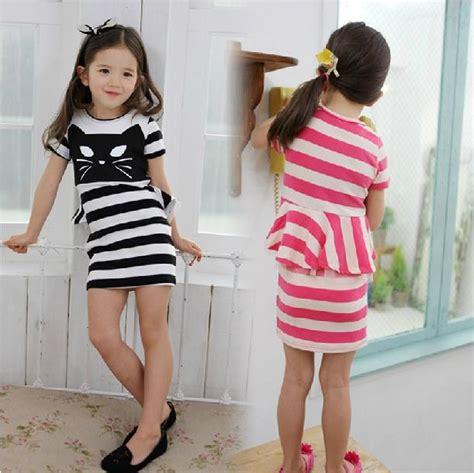 Stkd127 Setelan Anak Hoodie Pink Cat 1 free shipping fashion new cat striped dresses summer dress