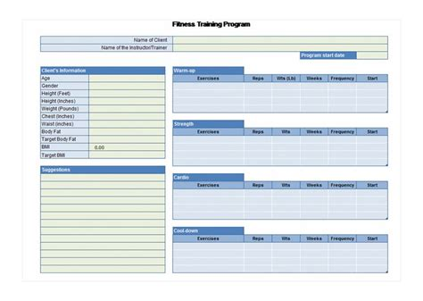 exercise planner exercise planner template
