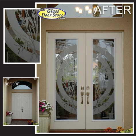 Glass Door Store Etched Or Sandblasted Glass Doors Tropical Entry Ta By The Glass Door Store