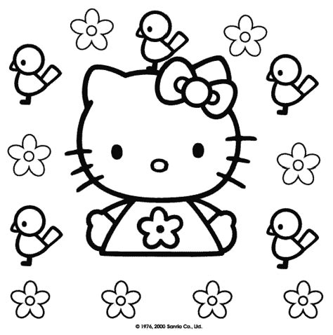 hello kitty with flowers coloring pages coloring pages july 2011