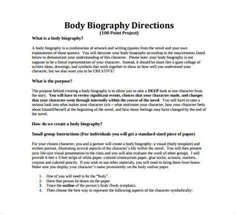 structure of a biography for students 7 biography sles pdf sle templates
