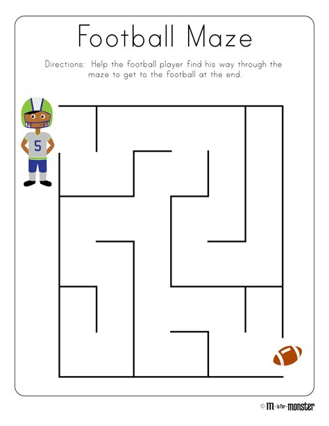 printable maze for preschoolers football week free printable m is for monster