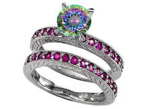 mystic topaz wedding ring sets k genuine mystic topaz wedding set 28530
