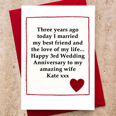 personalised 3rd wedding anniversary card by jenny arnott