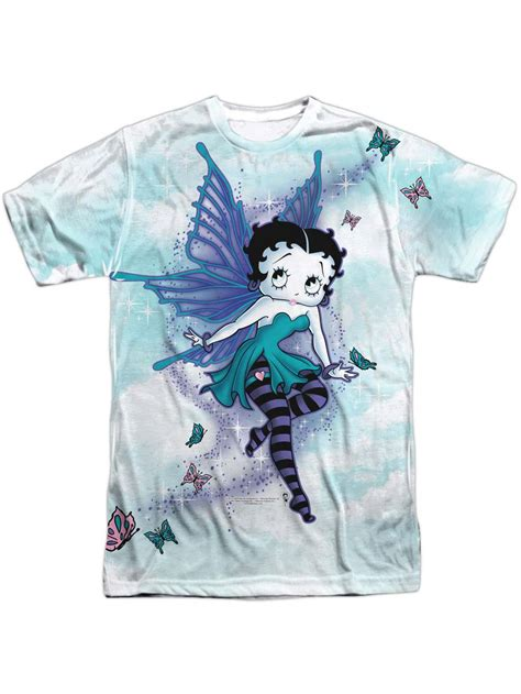 betty boop mens sparkle fairy sublimation  shirt white