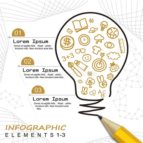 Modern Template Infographic With Pencil Drawing A Bulb Stock Vector Illustration Of Brochure Drawing Infographic Template