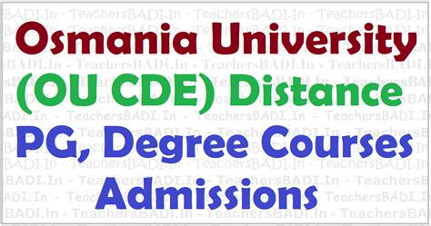 Ou Distance Mba Notification 2017 by Ou Cde Pg Degree Ug Admissions 2017 At Osmania