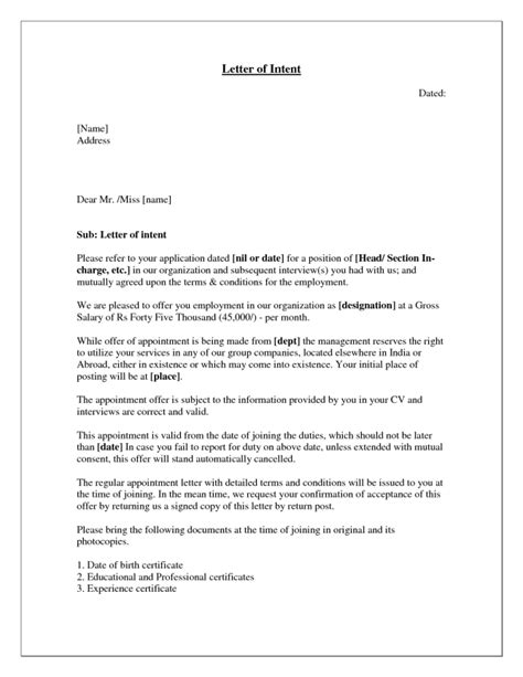 Letter Of Intent Exle For Employment Letter Of Intent For Writing Professional Letters
