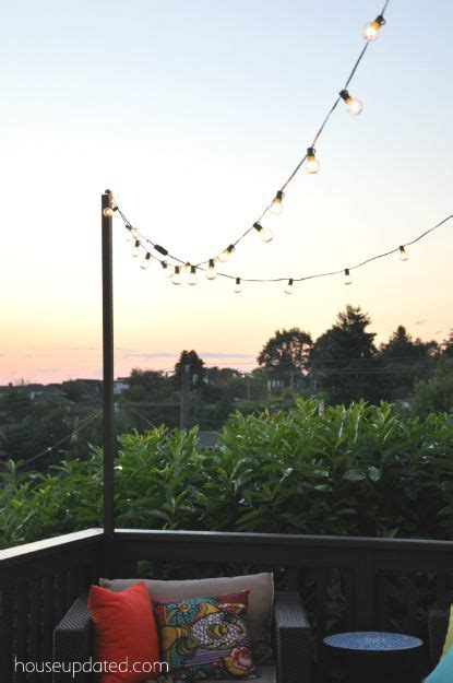 Outdoor String Light Pole How To Make A Pole To Add String Lights To The Deck Back Yard Makeover The