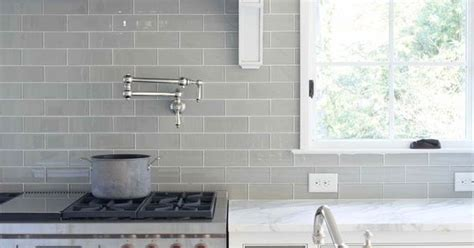 smoke glass subway tile grey backsplash marble