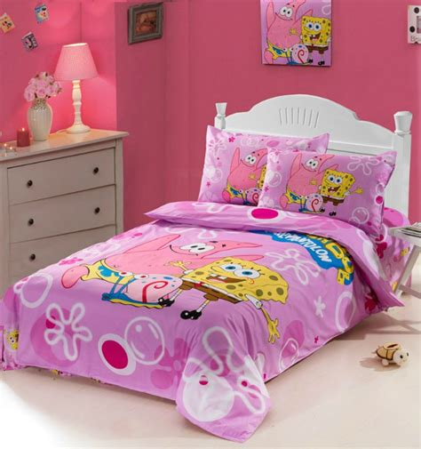 Bedcover Set Spongebob 3d 100 cotton blue pink spongebob pink bedding set bed sets single