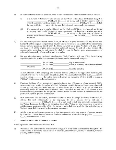 option agreement template option agreement for rights to original screenplay