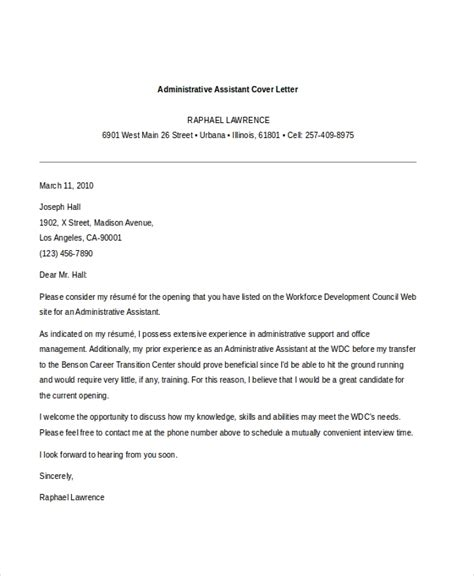 sample administrative assistant cover letters