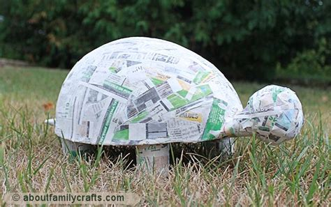 What Can I Make With Paper Mache - paper mache patchwork turtle about family crafts