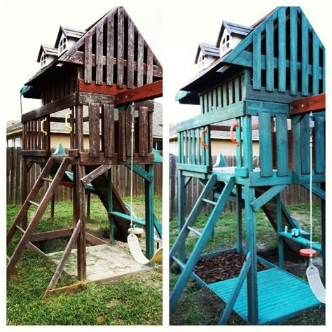 rainbow swing set stain before and after swing set makeover swing set repaint