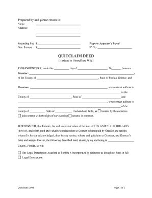 quit claim deed florida fill online printable fillable