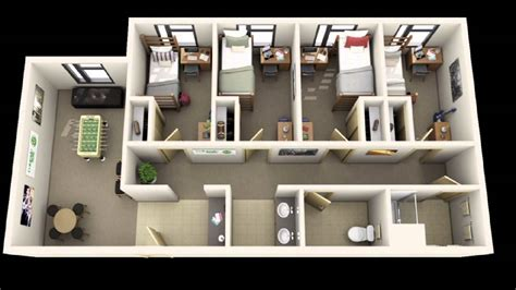 10 Awesome Two Bedroom Apartment 3d Floor Plans - 3d apartment floor plans homes floor plans