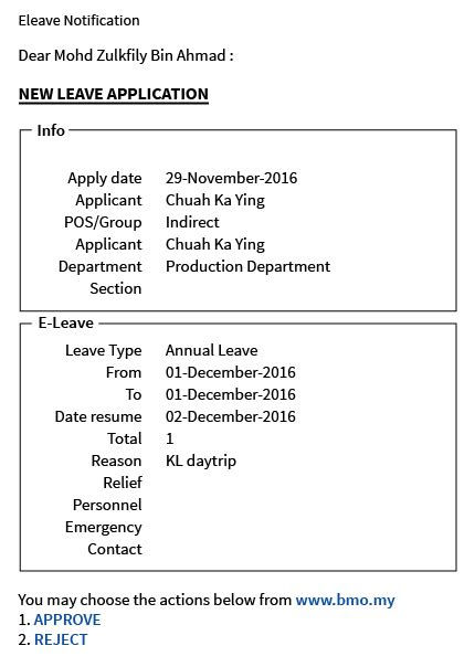 email notification on leave 6 0 e leave application bmo online hrm system leave