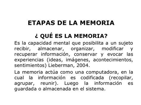 la memoria secreta de b01ncohep4 etapas de la memoria