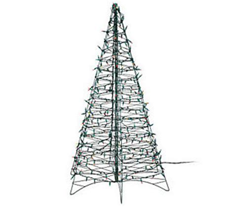 pre lit 5 fold flat outdoor christmas tree by lori