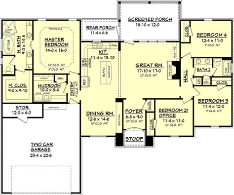 2000 sq ft single story house plans european style house plan 4 beds 2 baths 2000 sq ft plan 430 74