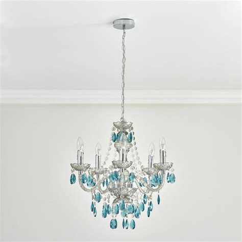 wilko chandelier 5 arm smoke with teal at wilko com