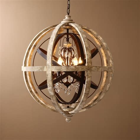Wooden Chandeliers Lighting Retro Rustic Weathered Wooden Globe Metal Orb 5 Light Chandelier Chandeliers Ceiling