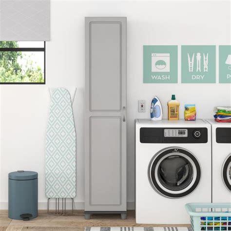 gray grey pantry storage cabinet shelving laundry broom