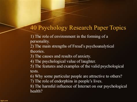 research topics in psychology for a research paper psychology research paper topics