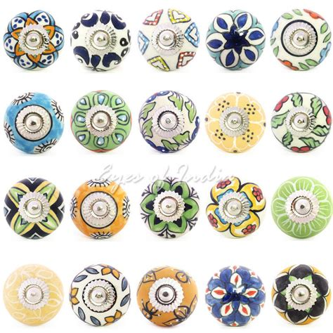 decorative cabinet door knobs yellow green and blue ceramic cupboard cabinet dresser