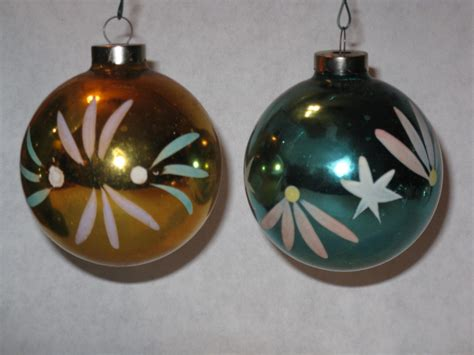 Gold Glass Ornaments - pair vintage glass tree ornaments gold blue usa