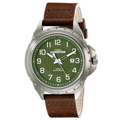 timex expedition rugged field timex t49946 expedition rugged metal field brown leather ebay