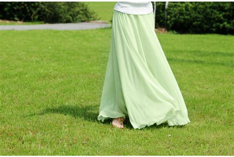 mint green stylish chiffon maxi skirt on luulla