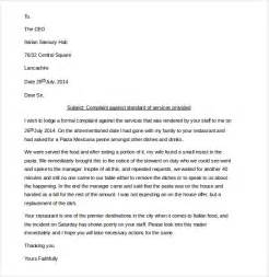 Writing A Complaint Letter About Service 14 Restaurant And Hotel Complaint Letter Templates Free
