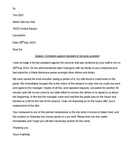 Complaint Letter Against Poor Service 14 restaurant and hotel complaint letter templates free