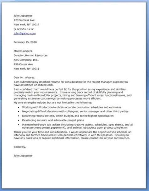 construction project manager cover letter exles source
